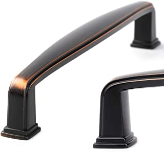 Koofizo Square Foot Cabinet Arch Pull - Oil Rubbed Bronze Furniture Handle, 5 Inch/128mm Screw Spacing, 10-Pack for Kitche...