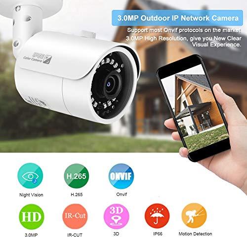 IP-Netzwerkkamera, 3.0 MP H.265 + Outdoor O-NVIF-Überwachung Wasserdichte IR-Nachtsichtkamera für das Home Office