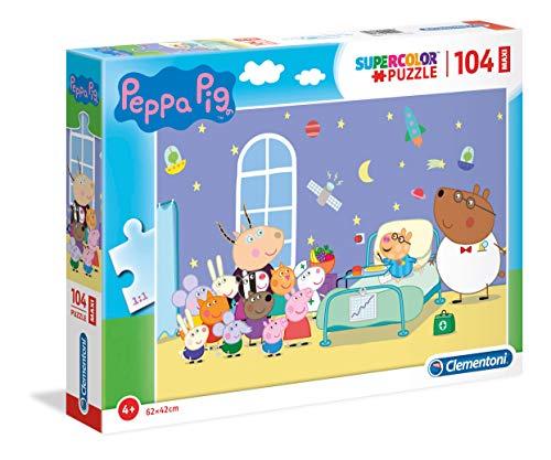 Clementoni- Supercolor Puzzle-Peppa Pig-104 Pezzi Maxi, Multicolore, 23735