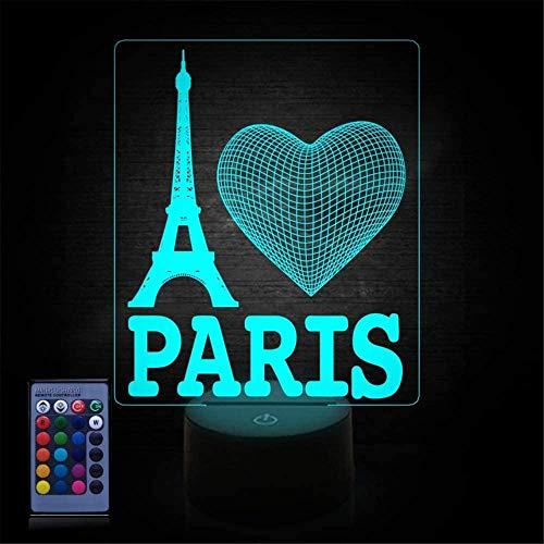 Luz de noche para niños 3D Torre Eiffel Lámpara de ilusión con control remoto 16 colores cambiantes Navidad Halloween regalo de cumpleaños para niño niña