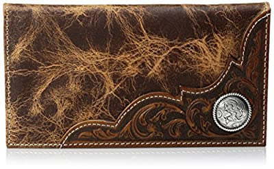 Ariat Men's Distressed Corner Over Circle Rodeo Wallet, tan, One Size