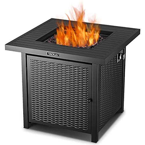 TACKLIFE Propane Fire Pit Table,2020 Upgrade, Outdoor Gas Fire Pit Table,28 Inch 50,000 BTU Auto-Ignition Gas Fire Pit Table with Cover,ETL Certification,Strong Striped Steel Surface
