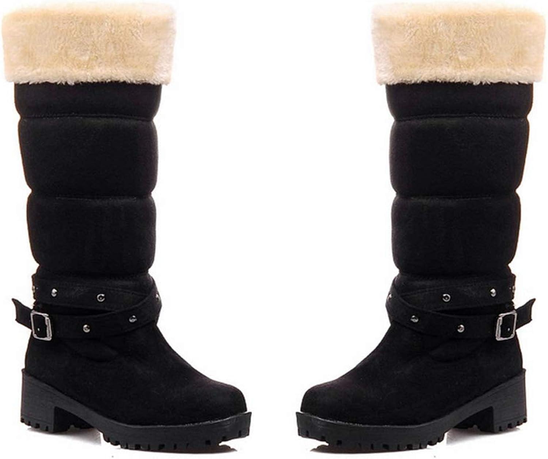 Elsa Wilcox Women Suede Leather Buckle Waterproof Fur Lined Low Heel Wedge Boots Mid-Calf Snow Boots