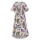 Vestido De Verano para Mujer con Cuello En V Mini Vestido Floral con Volantes Vestido Bohemio De Manga Larga Vestido De Playa (Blanco+XL)