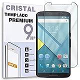 REY Protector de Pantalla para Motorola Google Nexus 6 Cristal Vidrio Templado Premium