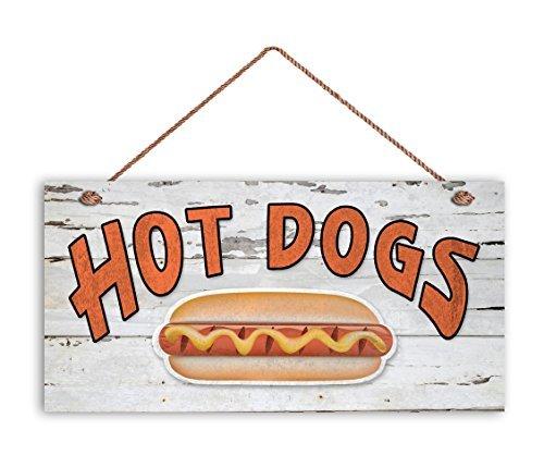 Hot Dogs Sign, bois vieilli, résistant aux intempéries, 5 et (X 10 et (Panneau, rétro Summer Party Sign, cadeau pour papa, Nourriture Sign, Pot Luck Sign Panneau en bois.