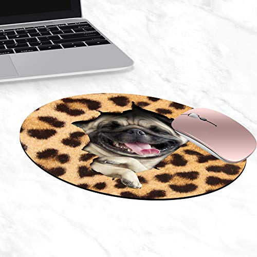 Round Mouse Pad,Funny Leopard Print Pug Mouse Pad Non-Slip Rubber Material Round Mouse Mat for Office Home and Travel-Pineapple(7.87inchx7.87inch)