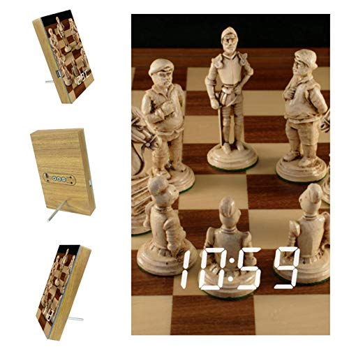 Indimization Reloj Digital Tablero de ajedrez USB Recargable Reloj Alarma Electrónico Pantalla LED Snooze Clock para Dormitorio Oficina 6.2x3.8x0.9 in