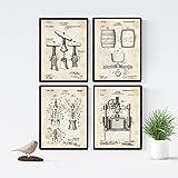 Nacnic Wein Patent Poster 4er-Set. Vintage Stil