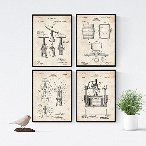 Nacnic Wein Patent Poster 4er-Set. Vintage Stil Wanddekoration Abbildung von Önologie und Alte Erfindungen. Verschiedene auffällig Wein Bilder ohne Rahmen. Größe A4.