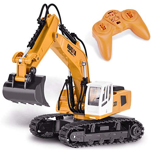 Yuboa Remote Control Excavator RC Truck Toy,Remote Control Truck with Metal Shovel Construction Vehicle Alloy RC Excavator Gift for Kid Boys Yellow