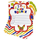 36 Bounce Birthday Invitations with Envelopes Kids Jump Party Invites Boys Trampoline House Invitation for Boy Girl Kid Teen Jumping Supplies