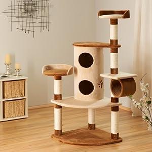 Bontoy Kratzbaum Betty in Creme/Braun I 65 x 65 x 150cm I mit 9 cm Sisalstämmen I auch für große Katzen geeignet I… 7
