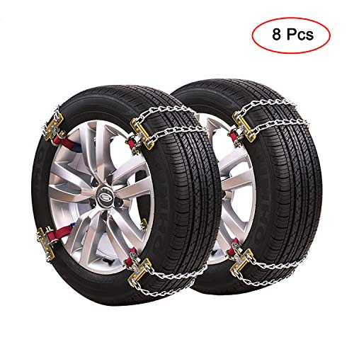 GUHAIBO Snow Chains for Car Tires, Adjustable Security Heavy-Duty Universal Tire Chains,Easy to Install Anti-Slip Chain,205-225mm/8.0-8.7in