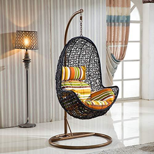 TBDLG Egg Chair Rattan Swing Chair, Outdoor Indoor Vimini Teardrop Hanging Chair con Supporto con Cuscino e Cuscino, Poltrona Sospesa per Giardino e Patio