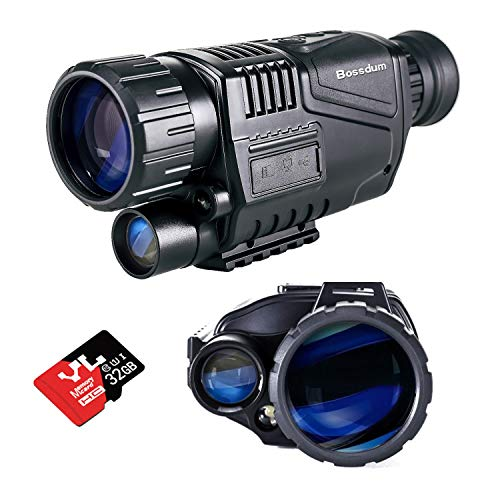 Monoculaire de Vision Nocturne, (Carte TF 32 Go Incluse), Monoculaire de Vision Nocturne HD 5x40 mm Prenez des Photos et des Vidéos Jusqu'à 656 Pieds dans l'obscurité Totale