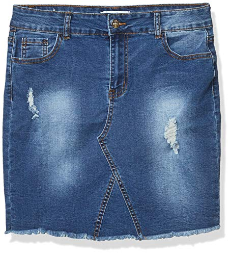 CG JEANS Denim Skirt for Juniors Ripped Distressed Fringe Hem Cute and Sexy, Medium Wash, Large