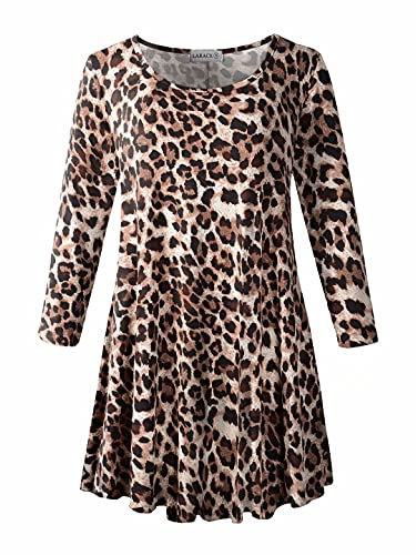 LARACE Floral Print Tunic Tops for Women Leopard 3/4 Sleeve Loose Fit Flare T-Shirt(1X, A-Leopard08)