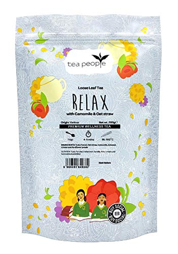 Tea People Relax, Loose Leaf Blended Herbal Tea in A Resealable Pouch, 200 g
