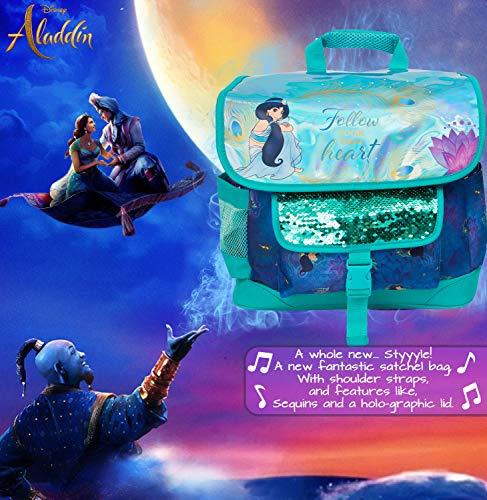 51f8uY2OTEL - Mochila Disney Girls | Bolso De Aladdin, Sigue A Tu Propio Corazón con La Princesa Jasmin | con Lentejuelas Y Diseño Holográfico | para Niños con Bolsillo Frontal Grande para La Escuela