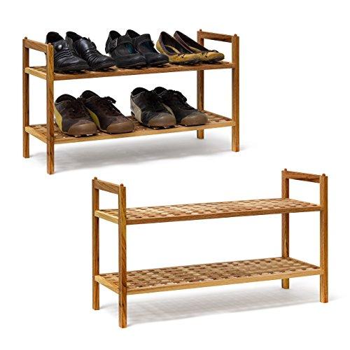 Relaxdays 2 x Schuhregal Walnuss im Set, Schuhaufbewahrung stapelbar, Schuhablage mit je 2 Etagen, offen, je 6 Paar Schuhe, Natur