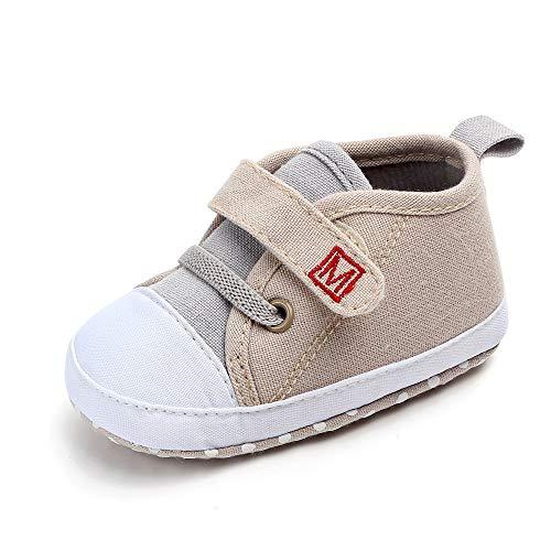 WEXCV Neugeborenes Baby Nette Jungen Mädchen Leinwand Brief Erste Wanderer Weiche Sohle Schuhe (EU:21.5, Khaki)