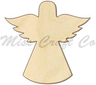 Angel Wood Shape Cutout, Wood Craft Shape, Unfinished Wood, DIY Project. All Sizes Available, Small to Big. Made in the USA. 7 X 6.7 INCHES