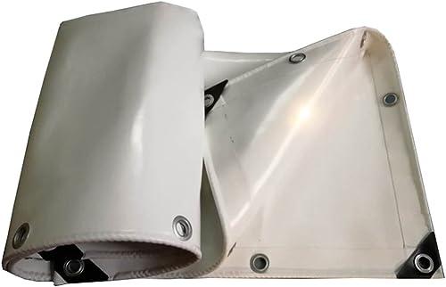YFF-Bache LIYFF Abat-Jour extérieur Multi-Usage Blanc Heavy Duty Tarpaulin Voiture Bateau Toit Couverture de Pluie Tente de remorque Camping, épaisseur 0,65 mm, 4 Options de Taille