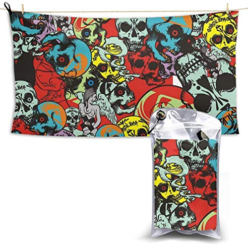 XCNGG Quick Dry Bath Towel, Absorbent Soft Beach Towels, Colorful Skull for Camping, Backpacking, Gym, Travelling, Swimming,Yoga 28.7'' X 51''