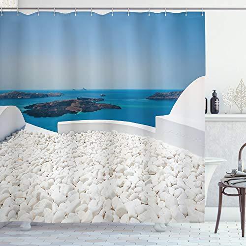 ABAKUHAUS Viaje Cortina de Baño, La Isla de Santorini Grecia, Material Resistente al Agua Durable Estampa Digital, 175 x 220 cm, Turquesa y Negro