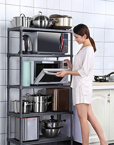 YQQJK keukenrek verstelbaar, meerlagig opbergrek voor woonvloer type eenheid opbergplanken 5-laags woonkamer balkon bloem standaard bloempot displaystandaard