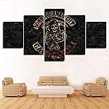 FJNS Sons of Anarchy Anime 5 Panel Pared Arte Poster Impresión en Lienzo para Regalos de decoración del hogar y la Oficina Único Creado Enmarcado (Opcional),B,20×35×220×45×220×55×1