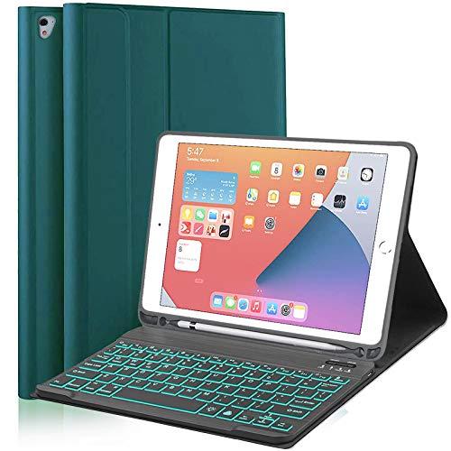 Funda con Teclado Retroiluminada para iPad 9.7, Funda Desmontable on Teclado Bluetooth para iPad 6th Gen 2018 iPad 5th Gen 2017 iPad Air 2/1, para iPad Pro 9.7 PortalápicesIntegrado