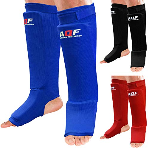 AQF Parastinchi Elastici Imbottiti con Schiuma con Cuscinetto a Supporto Gambe e Protezione per Piedi per MMA Kickboxing Parastinchi con Sistema Protettivo (Paio) (Blu, M)