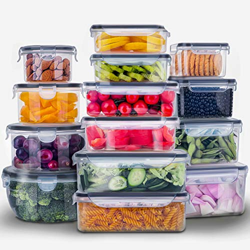28 Pieces Food Storage Containers w/Lids EXTRA LARGE Freezer Containers for Food BPAFree Meat Fruit Vegetables Plastic Containers for Food Storage Airtight LeakProof Food Containers Kitchen Pantry