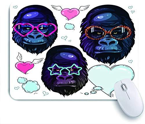 Dekoratives Gaming-Mauspad,Gorilla in der Mode helle Brille, Porträt des Affen in Sonnenbrille,Bürocomputer-Mausmatte mit rutschfester Gummibasis
