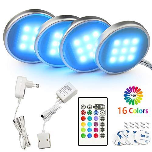 BASON LED Schrankbeleuchtung, Vitrinenbeleuchtun mit Fernbedienung, 20 Farboptionen RGB LED Beleuchtung, 12V Adapter Powered LED Schrankleuchten, Mutil Farben, 4pcs.[Energieklasse A++]