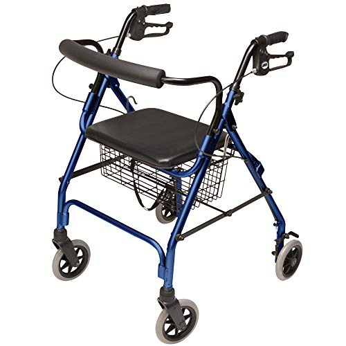 Graham-Field - RJ4300B Lumex Walkabout Lite Four Wheel Rolling Walker Rollator With Ergonomic Hand Grips And Carrying Basket, Blue