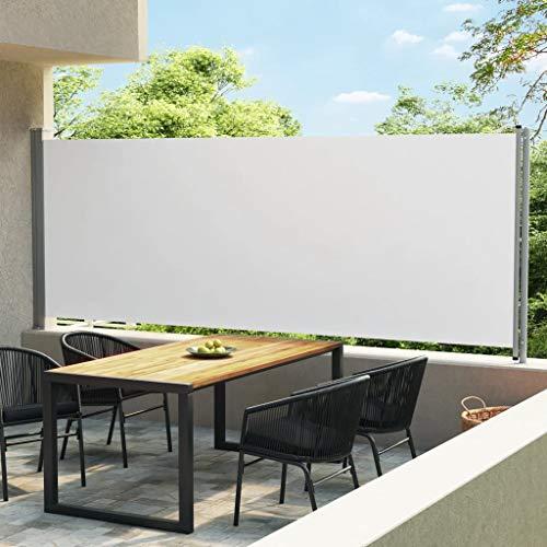 vidaXL Toldo Lateral Retráctil para Patio Separador Terraza Balcón Pantalla Solar Viento Enrollable Función Retroceso Automático Crema 600x170 cm