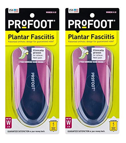 ProFoot Orthotic Insoles for Plantar Fasciitis & Heel Pain, Women's 6-10, 2 Pair