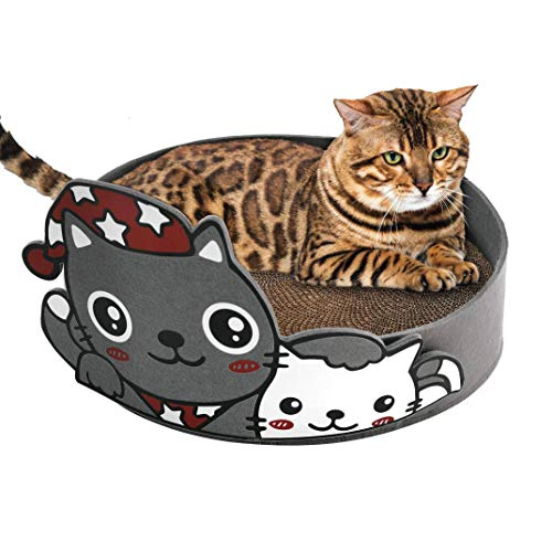 VIRTUAL UNIQUE Cartoon Cat Scratcher - Eco-Friendly - Non-Toxic - Fresh Catnip Included - Cat Scratch Pad Fits Cats - Available in Yellow or Black Colors - 16 x 16 x 4 inches (Black, Cartoon Cat)