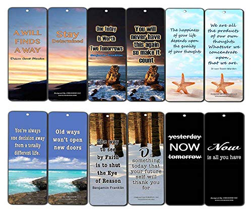 Creanoso Inspirational Quotes Bookmarks Cards (60-Pack) - Wisdom Sayings - Encouragement Stocking Stuffers Gifts for Men Women Adults Teens Kids Entrepreneur Seminar Bookmarker Pack