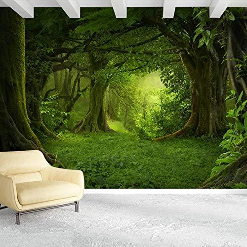 asfdgkwejd papel pintado mural 130x80CM Verde árboles plantas idílico No tejido Premium Art Print Fleece Mural de pared Decoración Póster Imagen Diseño moderno