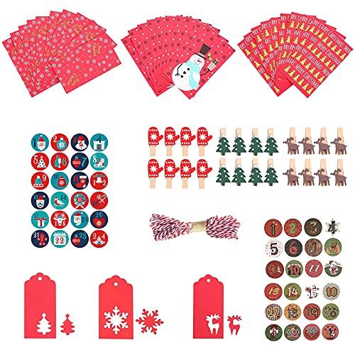 Bolsa de regalo de navidad, 24 piezas Calendario de Adviento con etiquetas adhesivas Clips de madera Cuerda de algodón Bolsas de papel Kraft para Navidad Decoración, Envolver Regalos