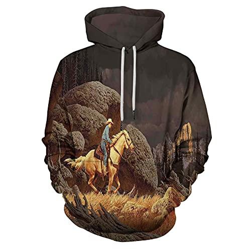 Printed Hooded Sweatshirt Western Rock Mountain Scene Landscape for Men/Women
