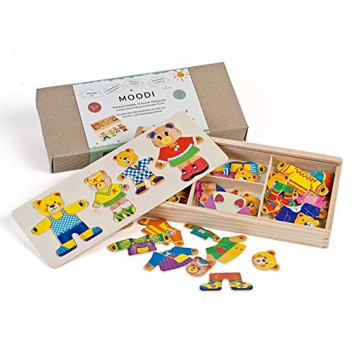 """NEU! - Holzpuzzle """"MOODI"""" - Montessori-Spielzeug mit 4 Bären zum Anziehen - Holzspielzeug ab 3 Jahre - Holz-Steckspiel, fördert Motorik & Intelligenz - 72 Teile in Holzbox"""