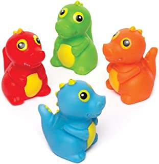 Baker Ross Ltd Dinosaur Water Bath Squirters (Pack of 4) Assorted Floating Rubber Squirters Ideal for Bath Time or Water Activities