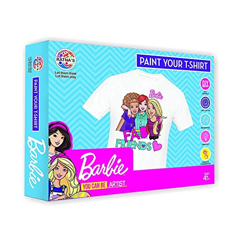 NisTec Barbie Design Paint Your T-Shirt for Girls Set 1 Free Size T-Shirt 3 Designer Stamps & 6 Colours & 1 Painting Brush