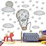 Pegatinas De Pared Dibujos Animados Pintados A Mano Globo De Aire Caliente Elefante Para Habitación De Niños Habitación De Bebé Vinilo Ecológico Tatuajes De Pared Decoración Del Hogar