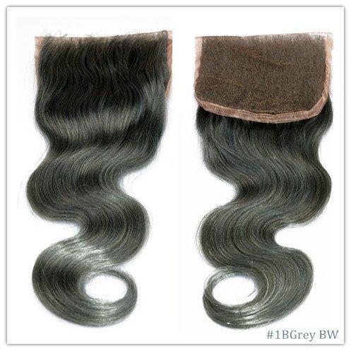 100% cheveux naturels vierges Wave Texture Fermeture Dentelle Suisse sur le dessus 10,2 x 10,2 cm supplémentaire gratuit avec blanchis Couleur Gris
